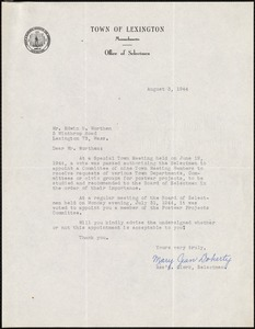 Letter from Mary Jean Doherty, on behalf of the Selectmen, to Edwin B. Worthen, August 3, 1944