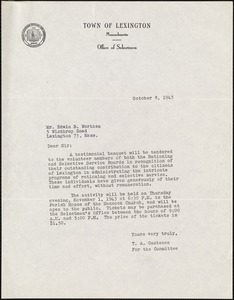 Letter from Theodore A. Custance to Edwin B. Worthen, October 8, 1945