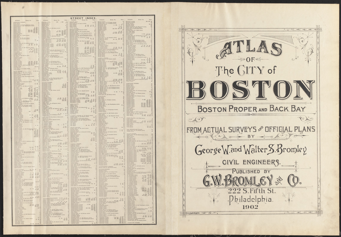 Atlas of the city of Boston, Boston proper and Back Bay ; street index