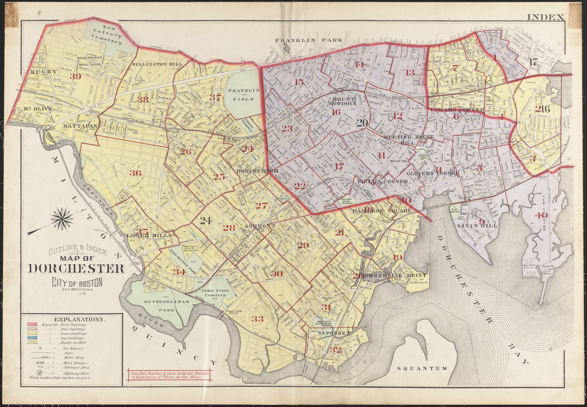 Outline & index map of Dorchester, city of Boston