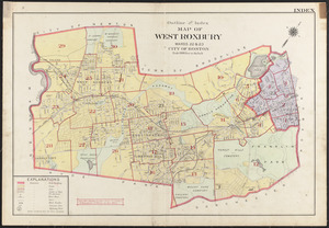 Outline and index map of West Roxbury, wards 22 & 23, city of Boston