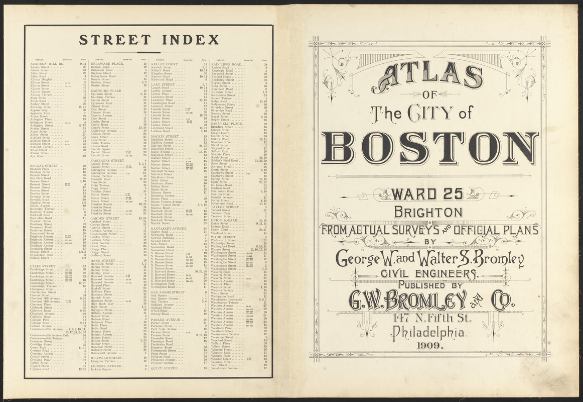 Atlas of the city of Boston, ward 25, Brighton ; street index