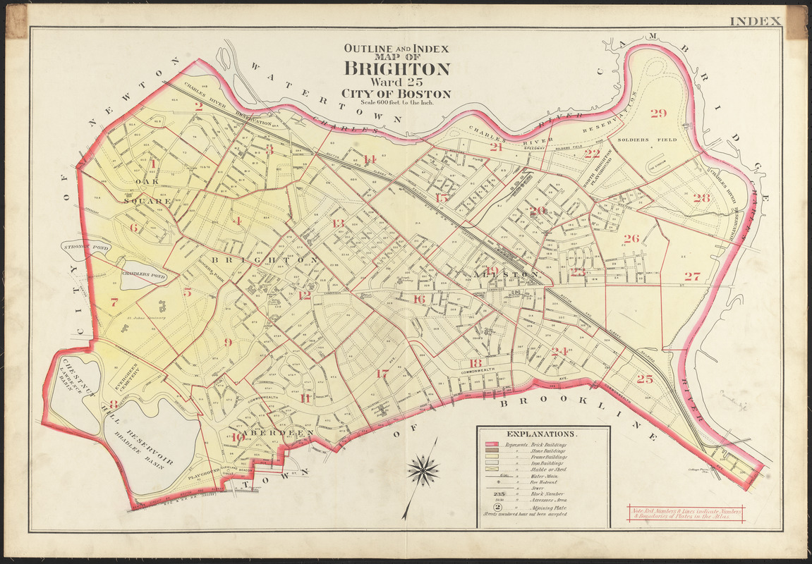 Outline and index map of Brighton ward 25 city of Boston Norman