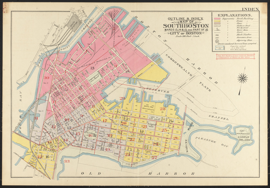South Boston Map Outline & index map of South Boston, wards 13, 14, & 15, and part  South Boston Map