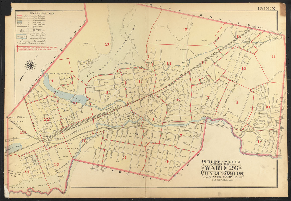 Outline and index map of ward 26, city of Boston, Hyde Park