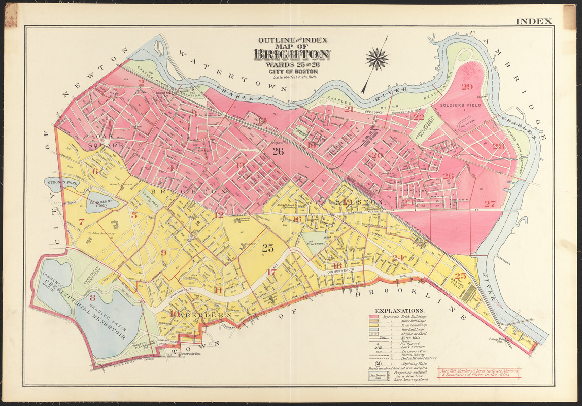 Outline and index map of Brighton wards 25 26 city of Boston