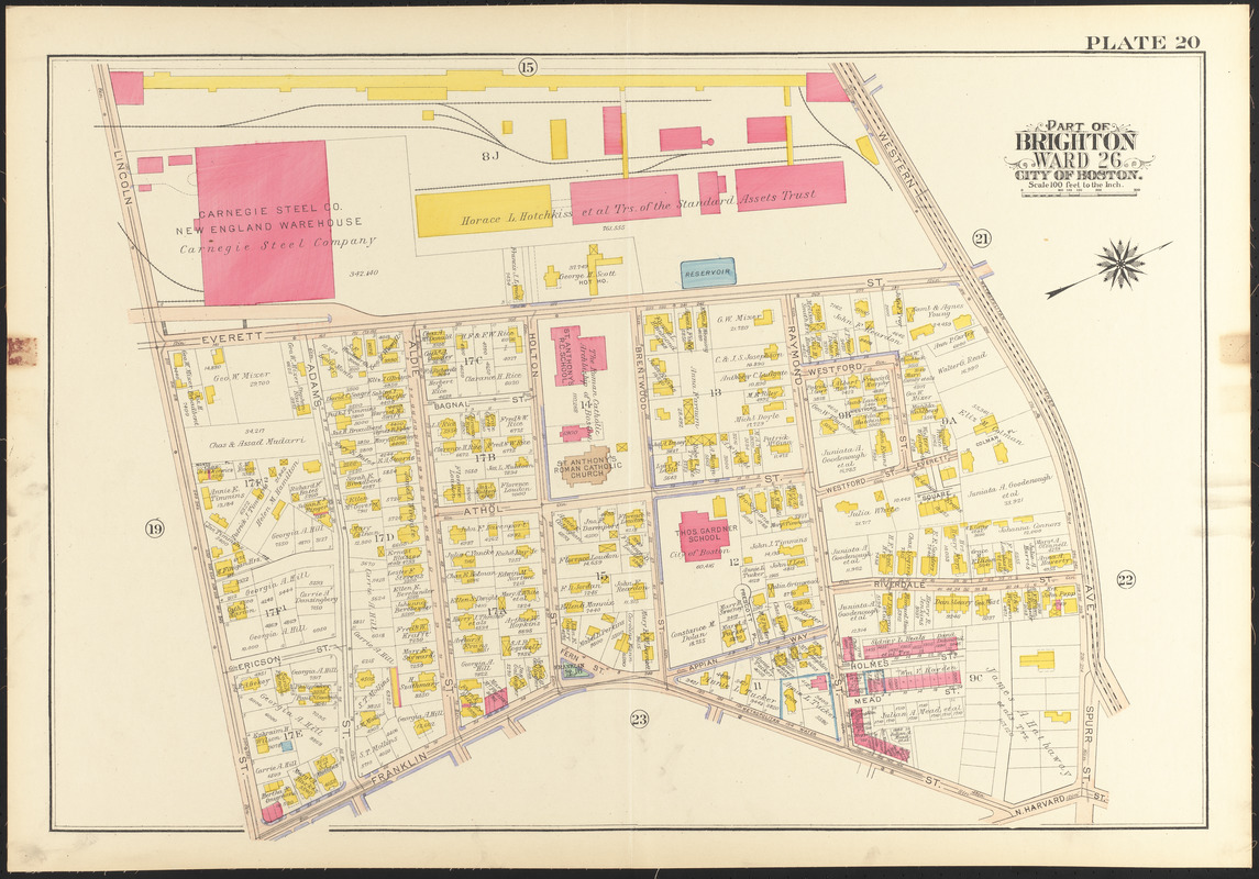Atlas of the city of Boston wards 25 26 Brighton Norman B
