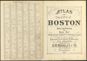 Atlas of the city of Boston, Boston proper and Back Bay ; street index (Boston proper)
