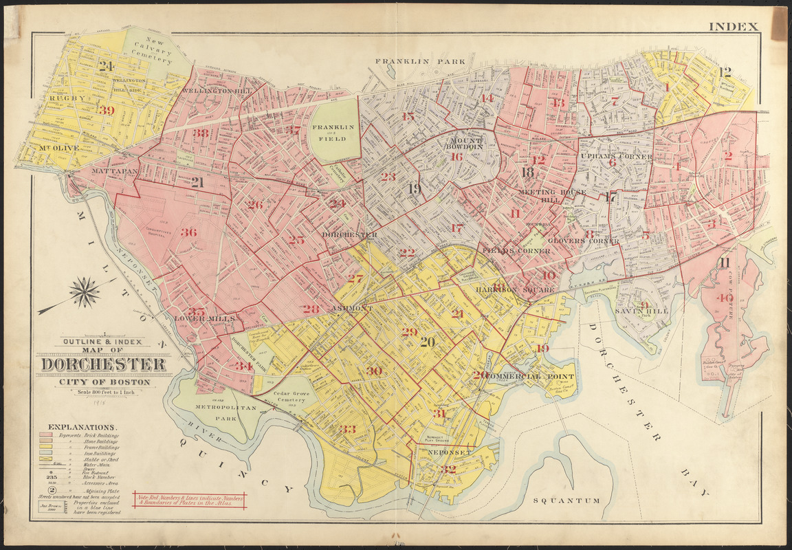 Outline & index map of Dorchester, the city of Boston
