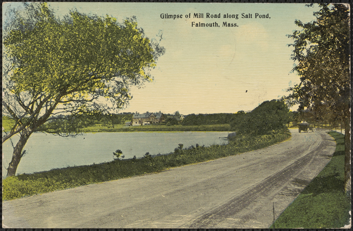 Glimpse of Mill Road along Salt Pond, Falmouth, Mass.