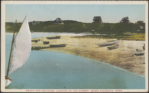 Beach and Cottages, Looking Up the Harbor North Falmouth, Mass.
