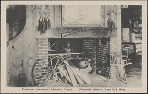 Fireplace, Lawrence's Sandwich Depot, Falmouth Heights, Cape Cod, Mass.