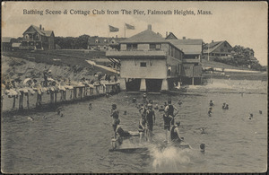 Bathing Scene & Cottage Club from The Pier, Falmouth Heights, Mass.