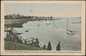 Bird's-Eye View Harbor & Cottages, Looking West from the Bluffs, Megansett, Mass.