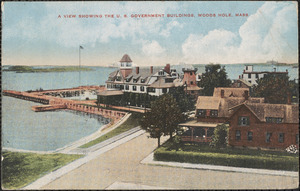 A View Showing the U. S. Government Buildings, Woods Hole, Mass.