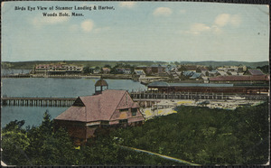 Birds Eye View of Steamer Landing & Harbor, Woods Hole, Mass.