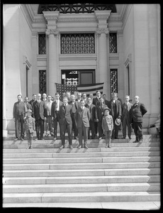 Metropolitan Water Works Miscellaneous, Chestnut Hill Low Service Pumping Station, group of people on steps, Brighton, Mass., ca. 1900-1919