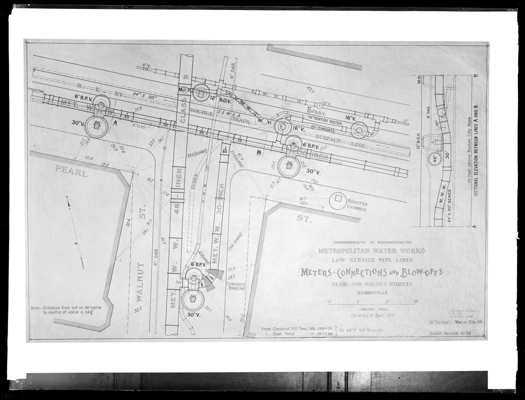 Engineering Plans, Distribution Department, Low Service Pipe Lines, January 1904; September 1916; Acc. No. B3750, Mass., Sep. 1916