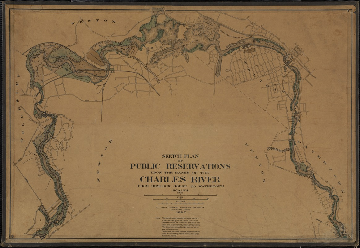 Sketch plan of public reservations upon the banks of the Charles River: from Hemlock Gorge to Watertown