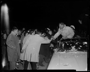 Henry Cabot Lodge, Jr. greeting supporters from the car