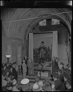 """John B. Hynes unveiling Emanuel Leutze's painting """"Washington at Dorchester Heights"""" in the McKim Building of the Boston Public Library as part of city's 325th birthday celebrations"""