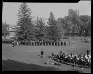 Academic procession, with musicians on lawn, at inauguration of Dr. Ruth M. Adams as president of Wellesley College
