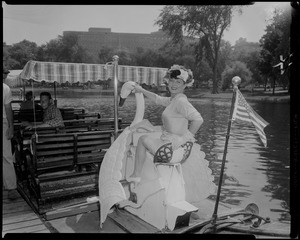 Denise Darcel on swan boat in Boston Public Garden