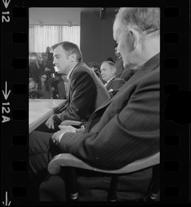 Harvard's new president Derek C. Bok, accompanied by former Treasury Sec. Douglas Dillon, now of Harvard's Board of Overseers (right) and Corporation Member Francis Burr, meets with newsmen