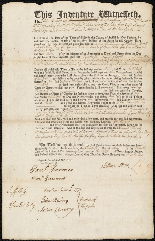 Document of indenture: Servant: Powell, Hannah. Master: Stone, Nathan. Town of Master: Yarmouth