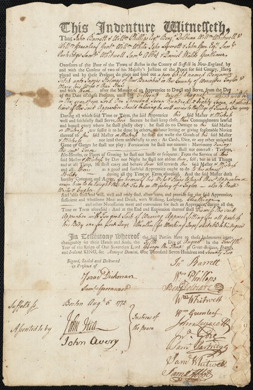 Document of indenture: Servant: Fitch, Benjamin. Master: Holmes, James. Town of Master: New Braintree