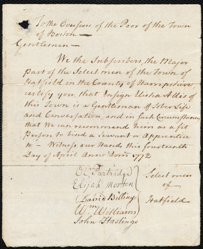 Document of indenture: Servant: Liscow, Mary. Master: Allis, Elisha. Town of Master: Hatfield. Selectmen of the town of Hatfield autograph document signed to the Overseers of the Poor of the town of Boston: Endorsement Certificate for Elisha Allis.