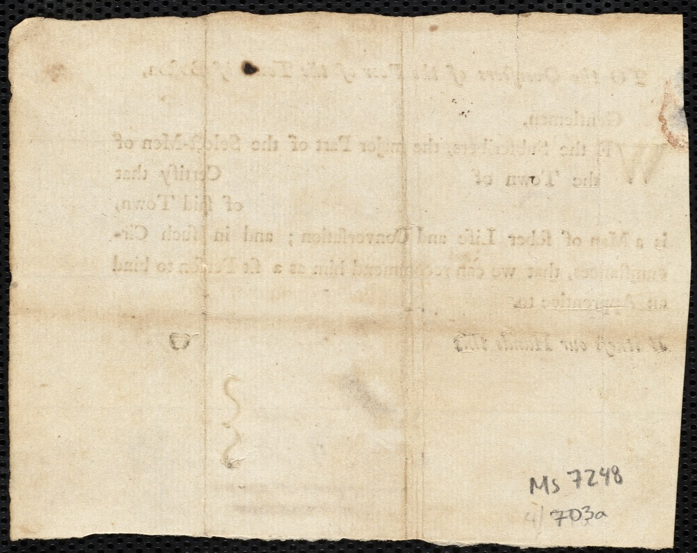Document of indenture: Servant: White, Katherine [Katharine]. Master: Coffin, Nathaniel. Town of Master: Falmouth. Selectmen of the town of Falmouth autograph document signed to the Overseers of the Poor of the town of Boston: Endorsement Certificate for Nathaniel Coffin.