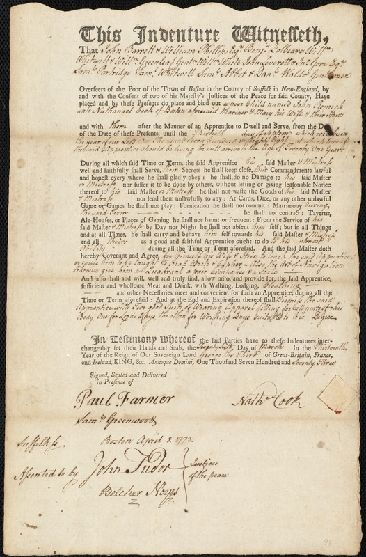 Document of indenture: Servant: Remick, John. Master: Cook, Nathaniel [Nathanael]. Town of Master: Boston