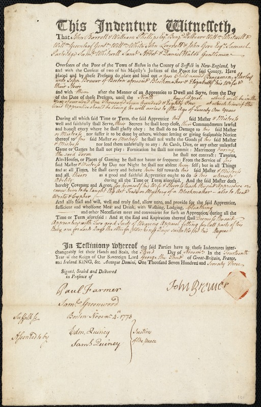 Document of indenture: Servant: Harley, Benjamin. Master: Brewer, John. Town of Master: Boston