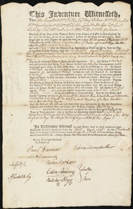 Document of indenture: Servant: Burdeway, Thomas. Master: Howe, Edward Compton. Town of Master: Boston