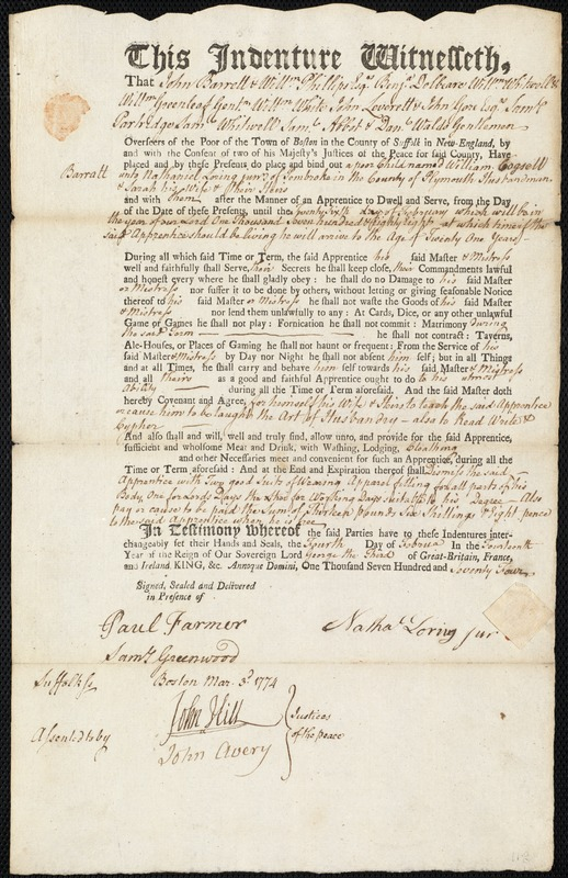 Document of indenture: Servant: Barratt, William Cogsell. Master: Loring, Nathaniel Jr. Town of Master: Pembroke. Selectmen of the town of Pembroke autograph document signed to the Overseers of the Poor of the town of Boston: Endorsement Certificate for Nathaniel Loring, Jr.