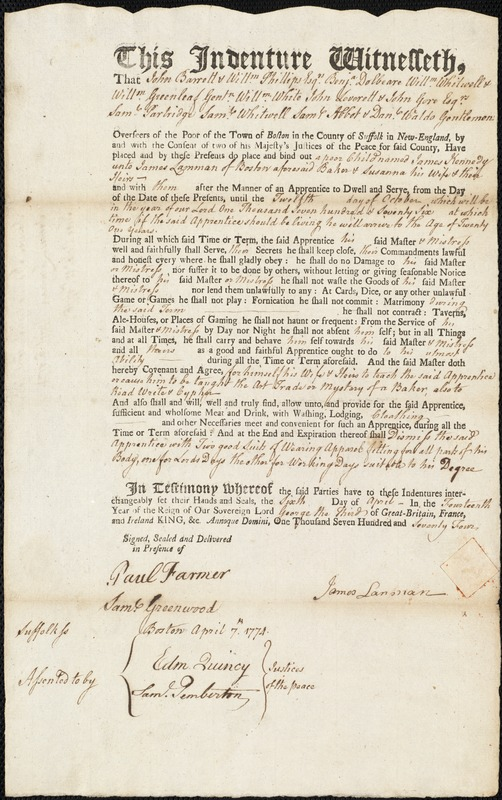 Document of indenture: Servant: Kennedy, James. Master: Lamman, James. Town of Master: Boston