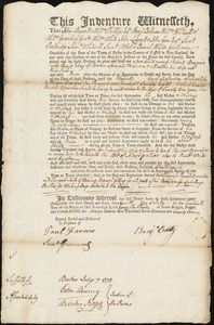 Document of indenture: Servant: Burgain, Robert. Master: Eddy, Benjamin. Town of Master: Boston