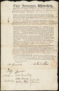 Document of indenture: Servant: Blanchard, Oliver. Master: Williams, Samuel. Town of Master: Springfield