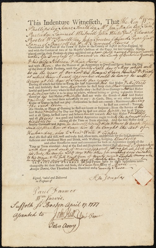 Document of indenture: Servant: Trevally, Francis. Master: Douglass, Asa. Town of Master: Hancock