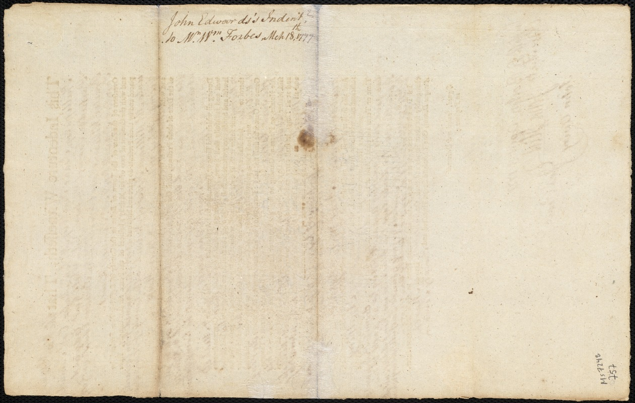 Document of indenture: Servant: Edwards, John. Master: Fobes, William. Town of Master: Norwich. Selectmen of the town of Norwich autograph document signed to the [Overseers of the Poor of the town of Boston]: Endorsement Certificate for Wiliam Forbes.