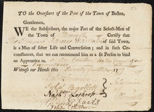 Document of indenture: Servent: Tuckerman, Jacob. Master: Warren, James. Town of Master: Plymouth. Selectmen of the town of Plymouth autograph document signed to the Overseers of the Poor of the town of Boston: Endorsement Certificate for James Warren.