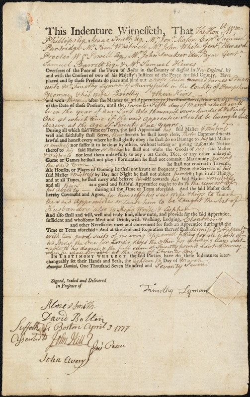 Document of indenture: Servant: Stuart, James. Master: Lyman, Timothy. Town of Master: Murrayfield. Selectmen of the town of Murrayfield autograph document signed to Whom It May Concern: Endorsement Certificate for Timothy Lyman.