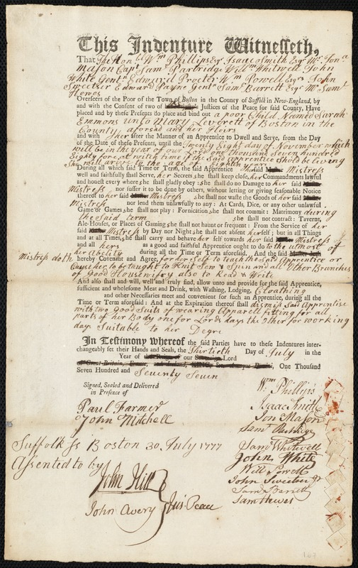 Document of indenture: Servant: Emmons, Sarah. Master: Leverett, Mary. Town of Master: Boston