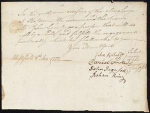 Document of indenture: Servant: Young, Anna. Master: Lee, John Jr. Town of Master: Westfield. Selectmen of the town of Westfield autograph document signed to the Overseers of the alms house at Boston: Endorsement Certificate for John Lee, Jr.