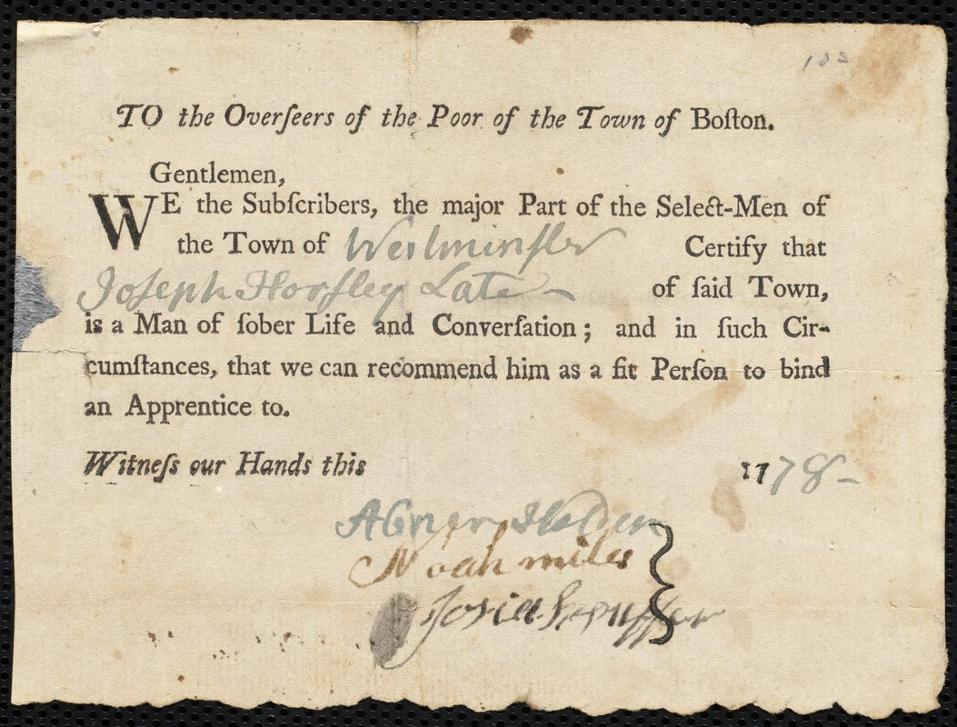 Document of indenture: Servant: Jerrell, John. Master: Horsley, Joseph. Town of Master: Shelburne. Selectmen of the town of Shelburne autograph document signed to the Overseers of the Poor of the town of Boston: Endorsement Certificate for Joseph Horsley.