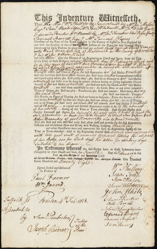 Document of indenture: Servant: Granger, Sarah. Master: Mandell, Paul. Town of Master: Hardwick