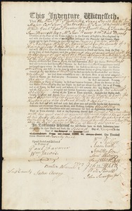 Document of indenture: Servant: Goslin, Thomas. Master: White, Nathan. Town of Master: Murrayfield