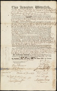 Document of indenture: Servant: Jenkins, Francis. Master: Pomeroy [Pomroy], Ethan. Town of Master: Hadley