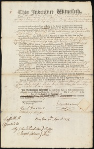 Document of indenture: Servant: Nickerson, Mary. Master: Somes, Nehemiah. Town of Master: Boston